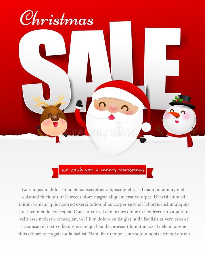 Wesoło bożych narodzeń sprzedaży tekst z Santa Claus wektoru ilustracją royalty ilustracja