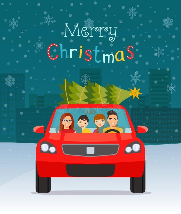 Wesoło bożych narodzeń stylizowana typografia Czerwony samochód z rodziną i choinką ilustracja wektor