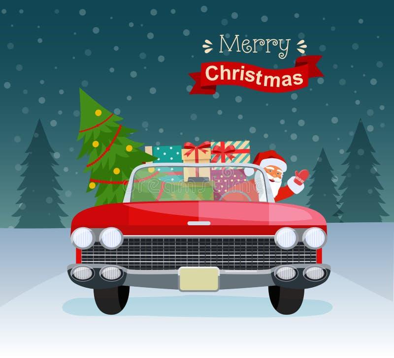 Wesoło bożych narodzeń stylizowana typografia Rocznika czerwony kabriolet z Santa Claus, choinki i prezenta pudełkami, ilustracja wektor