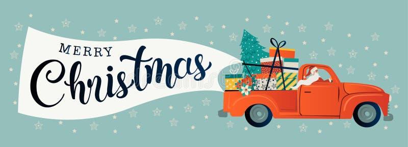 Wesoło bożych narodzeń stylizowana typografia Rocznika czerwony samochód z Santa Claus, choinki i prezenta pudełkami, Wektorowy m ilustracji