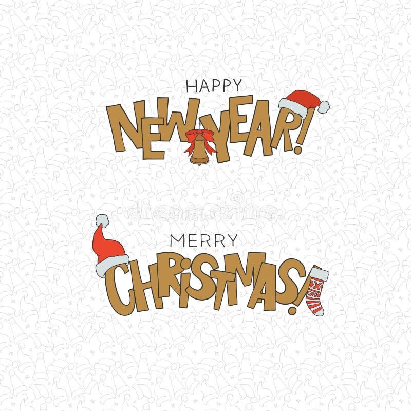 Wesoło bożych narodzeń szczęśliwego nowego roku literowania wakacje zimni symbole Wektorowa bezszwowa wzoru xmas nakrętka Dekorac ilustracji