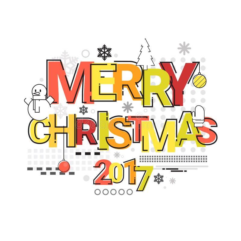Wesoło bożych narodzeń Szczęśliwego nowego roku nakreślenia sztandaru karty Prosty Kreskowy kontur royalty ilustracja