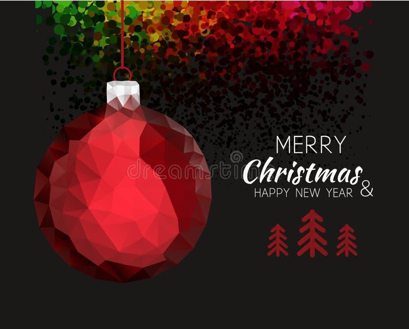 Wesoło bożych narodzeń szczęśliwego nowego roku ornamentu czerwona piłka ilustracja wektor