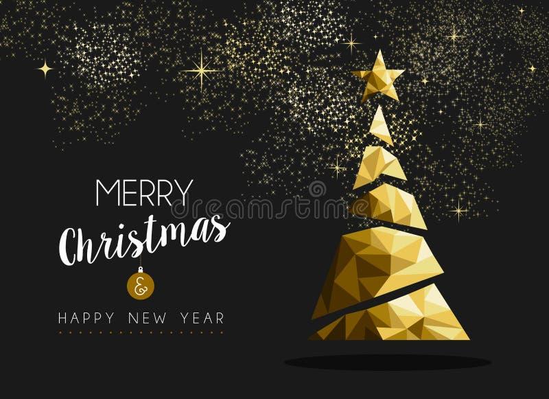 Wesoło bożych narodzeń szczęśliwego nowego roku trójboka złoty drzewo royalty ilustracja