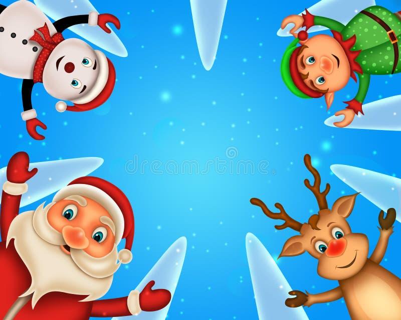 Wesoło bożych narodzeń szczęśliwych świąt bożego narodzenia, Santa z rendeer obraz stock