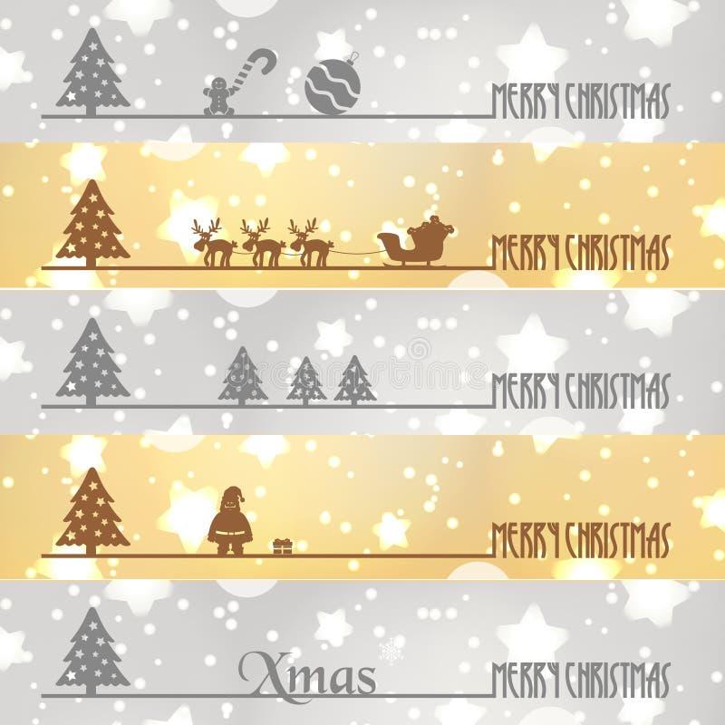 Wesoło bożych narodzeń sztandarów biznesowy śnieg i gwiazdy tło eps10 ilustracji