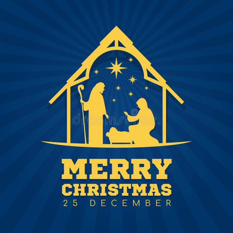 Wesoło bożych narodzeń sztandaru znak z Śródnocną boże narodzenie scenerią Mary i Joseph w żłobie z dziecko Jezusowym wektorowym  ilustracja wektor