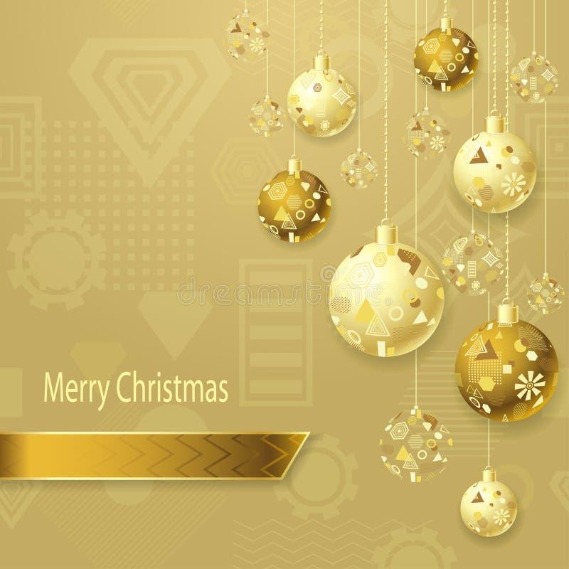 Wesoło bożych narodzeń tło z Bożenarodzeniowymi piłkami w złocie na świetle ilustracji