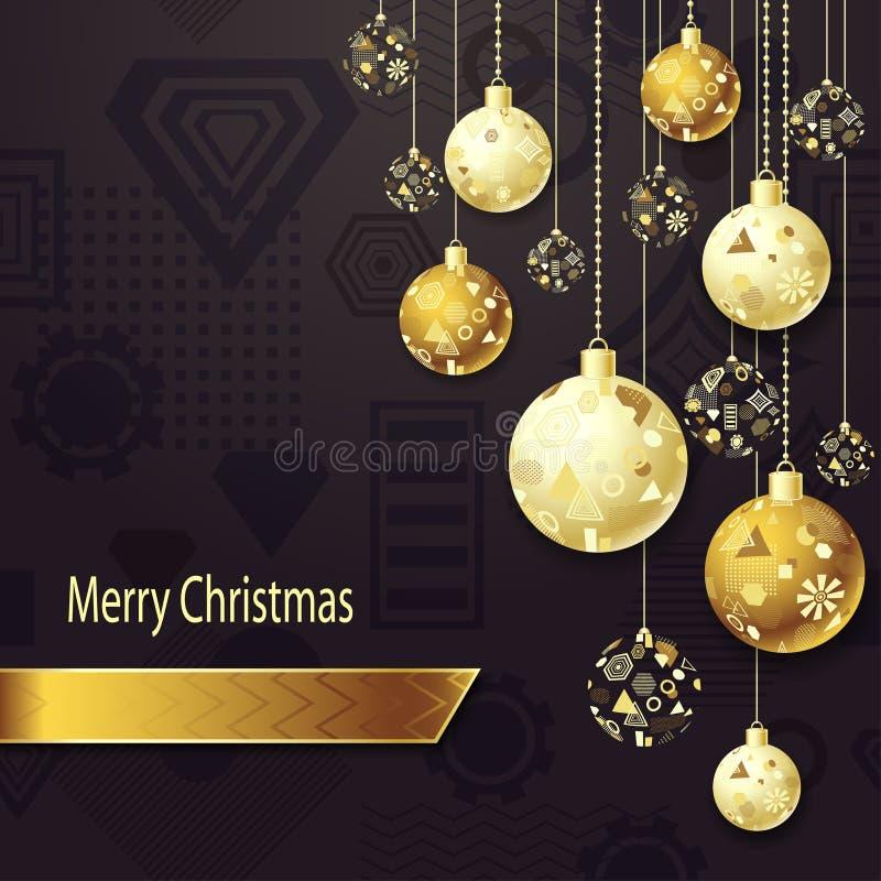 Wesoło bożych narodzeń tło z Bożenarodzeniowymi piłkami w złocie na zmroku ilustracji