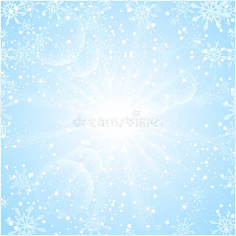 Wesoło bożych narodzeń tło z słońce płatkami śniegu ilustracja wektor