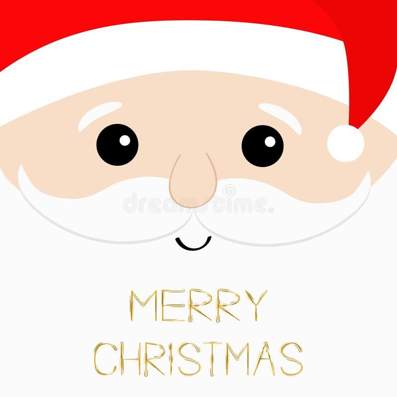 Wesoło bożych narodzeń tekst Święty Mikołaj duża kierownicza twarz Broda, wąsy, białe brwi, czerwony kapelusz Ślicznego kreskówki ilustracja wektor