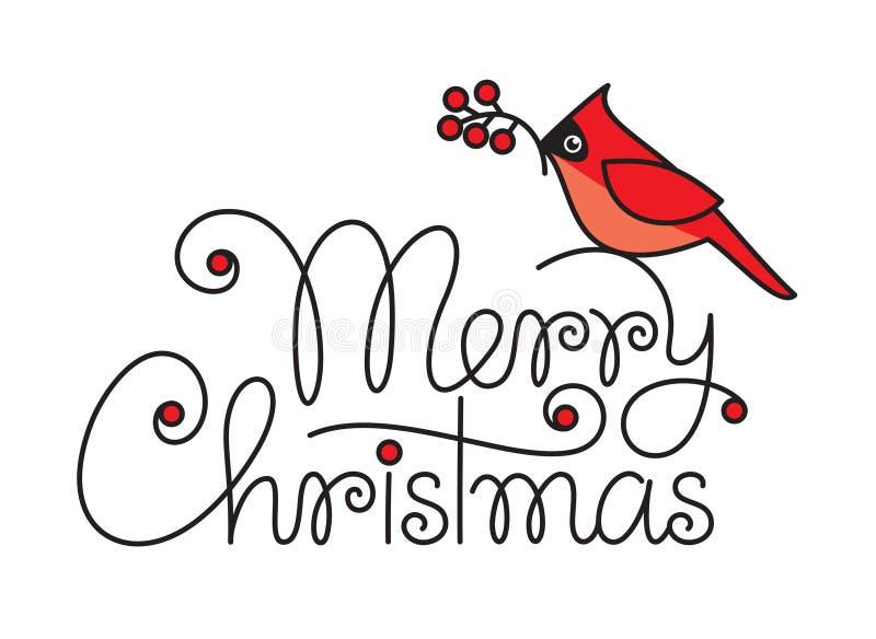 Wesoło bożych narodzeń tekst z czerwonym rudzika ptakiem, gałąź i ilustracji