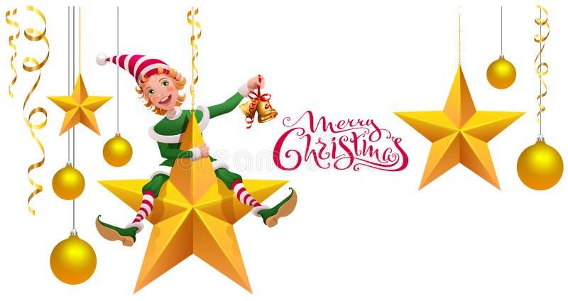 Wesoło bożych narodzeń teksta kartka z pozdrowieniami Zielony elfa leprechaun na gwiazdowego mienia Bożenarodzeniowym dzwonie royalty ilustracja