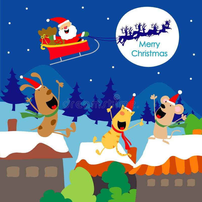 Wesoło bożych narodzeń teksta Santa prezenta psów zabawa Cieszy się kreskówka wektor royalty ilustracja