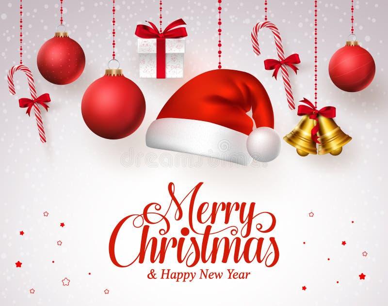 Wesoło bożych narodzeń tytuł w czerwieni z wiszącymi boże narodzenie ornamentami jak Santa kapelusz ilustracja wektor