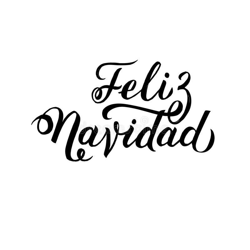 Wesoło bożych narodzeń uderzenia hiszpańszczyzn kaligrafia Kartka Z Pozdrowieniami Czarna typografia na Białym tle royalty ilustracja