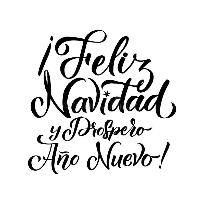 Wesoło bożych narodzeń uderzenia hiszpańszczyzn kaligrafia Kartka Z Pozdrowieniami Czarna typografia na Białym tle ilustracja wektor