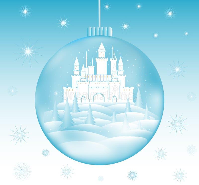 Wesoło bożych narodzeń wektorowa ilustracja z pięknym marznącym kasztelem w snowball i płatkach śniegu ilustracja wektor