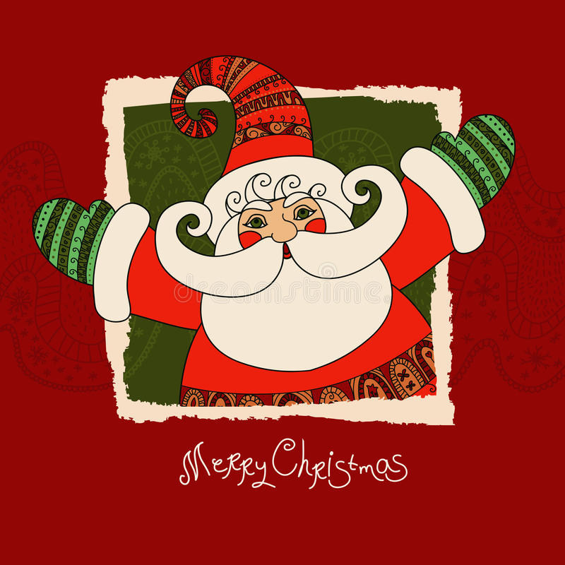Wesoło bożych narodzeń wektoru karta z Święty Mikołaj Śliczny i szczęśliwy San ilustracja wektor