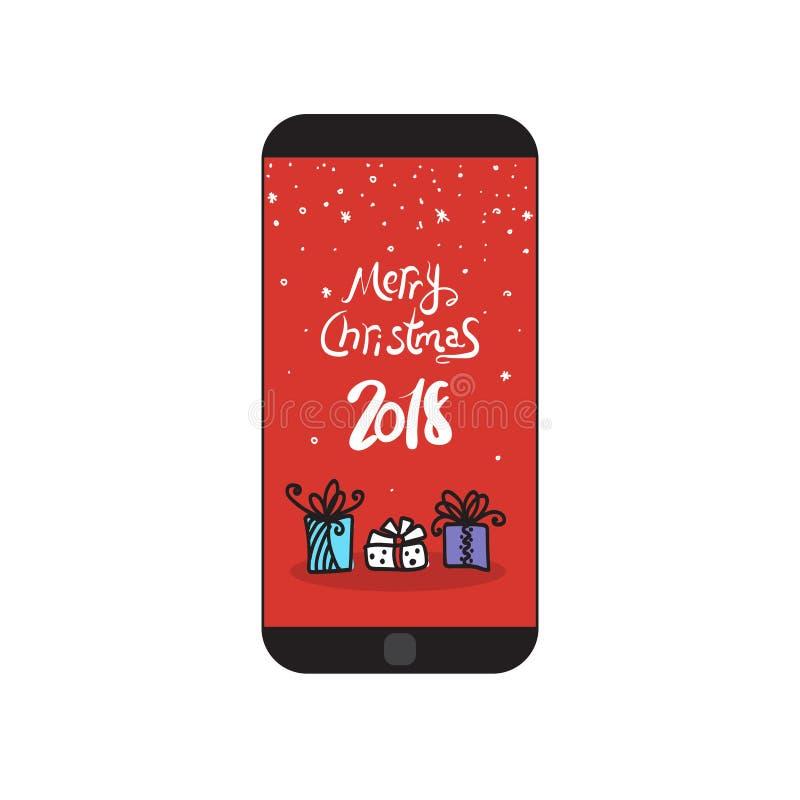 Wesoło bożych narodzeń 2018 wiadomość Na Nowożytnej komórki telefonu wakacje Mądrze powitaniu ilustracji