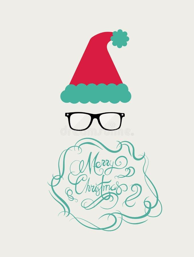 Wesoło bożych narodzeń wiadomości wektor w kursywnej zieleni z Santa kapeluszem ilustracji
