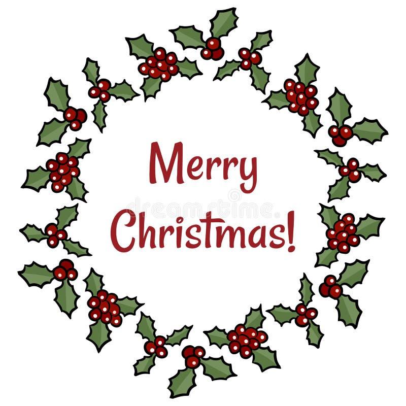 Wesoło bożych narodzeń wianku uświęcony jagodowy powitanie Wektorowa kreskówka wakacje dekoracja ilustracja wektor