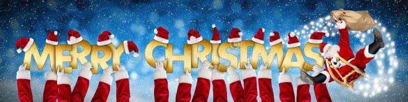 Wesoło bożych narodzeń xmas powitanie śmieszny Santa Claus na saniu ilustracja wektor