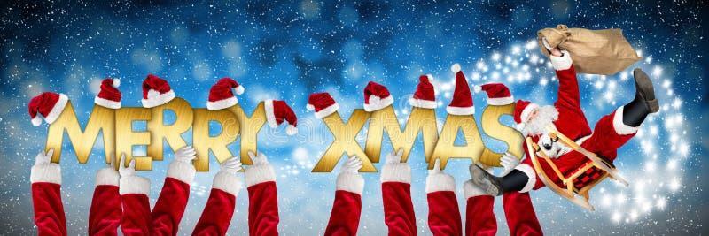Wesoło bożych narodzeń xmas powitanie śmieszny Santa Claus na saniu royalty ilustracja