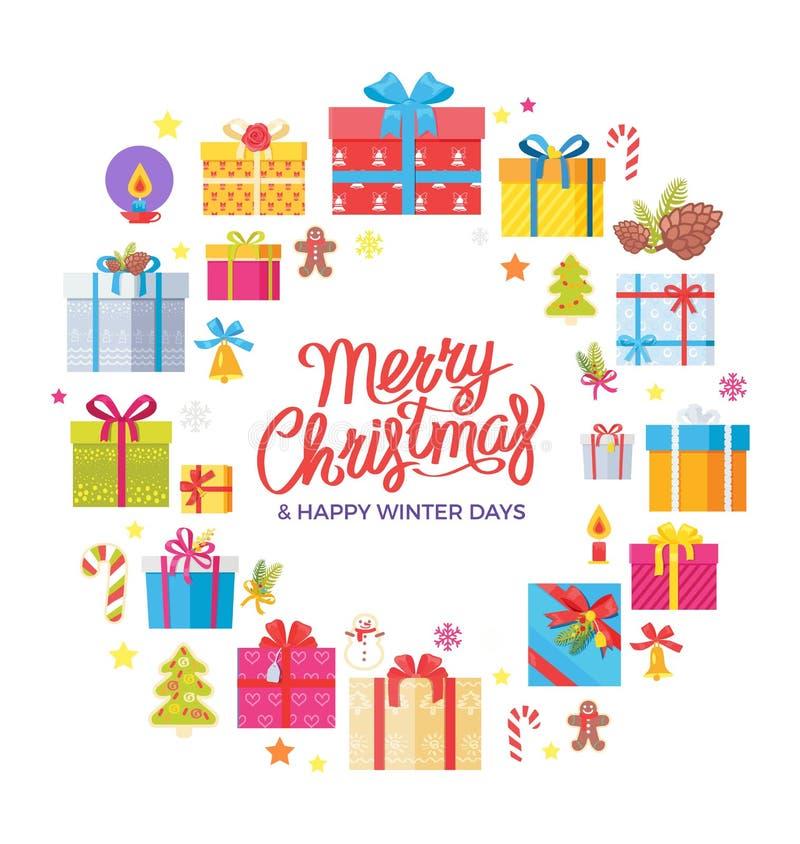 Wesoło bożych narodzeń zimy dni Congrats Szczęśliwa rama ilustracja wektor