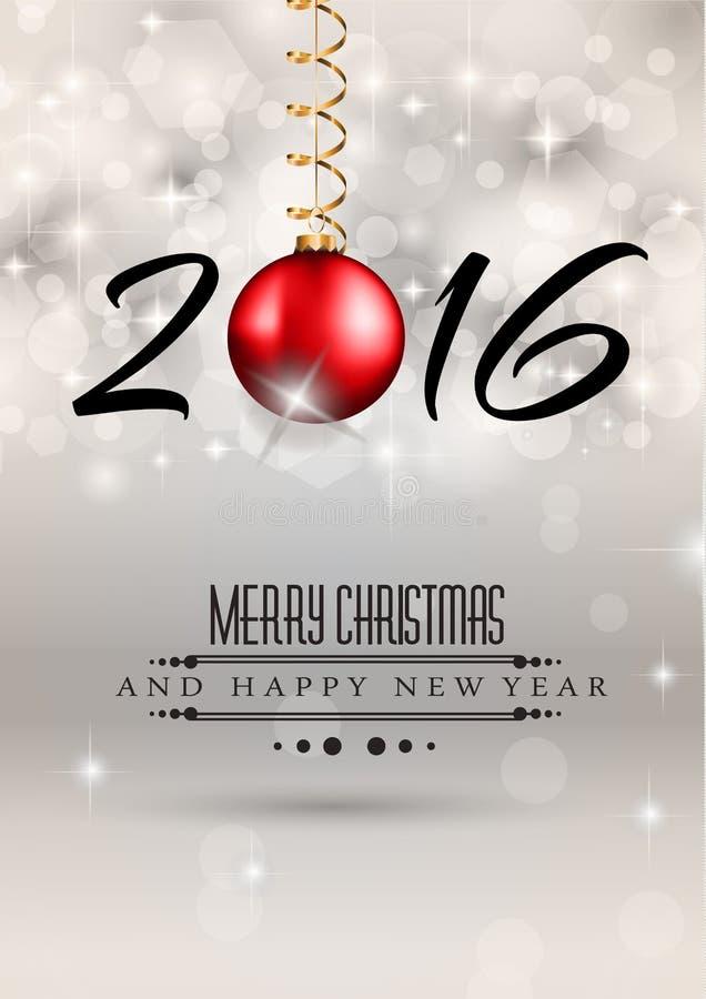2016 Wesoło Chrstmas i Szczęśliwy nowego roku tło ilustracja wektor
