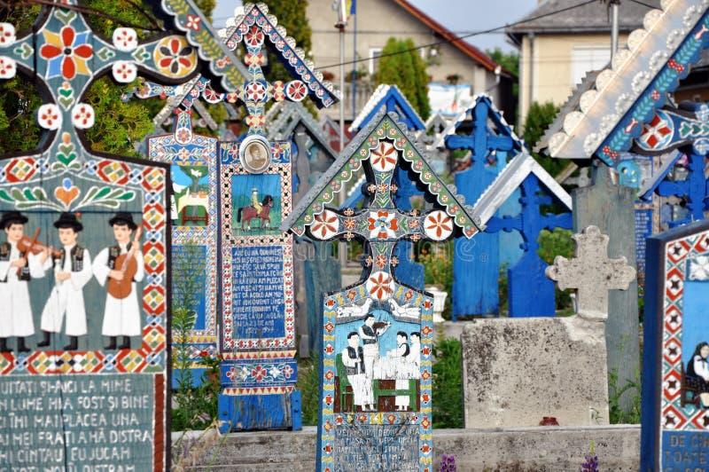 Wesoło cmentarz, malujący krzyże, Sapanta, Rumunia zdjęcie royalty free