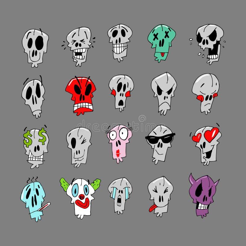 Wesoło emoji z czaszkami Może używać jako majchery i obrazek na koszulce ilustracja wektor