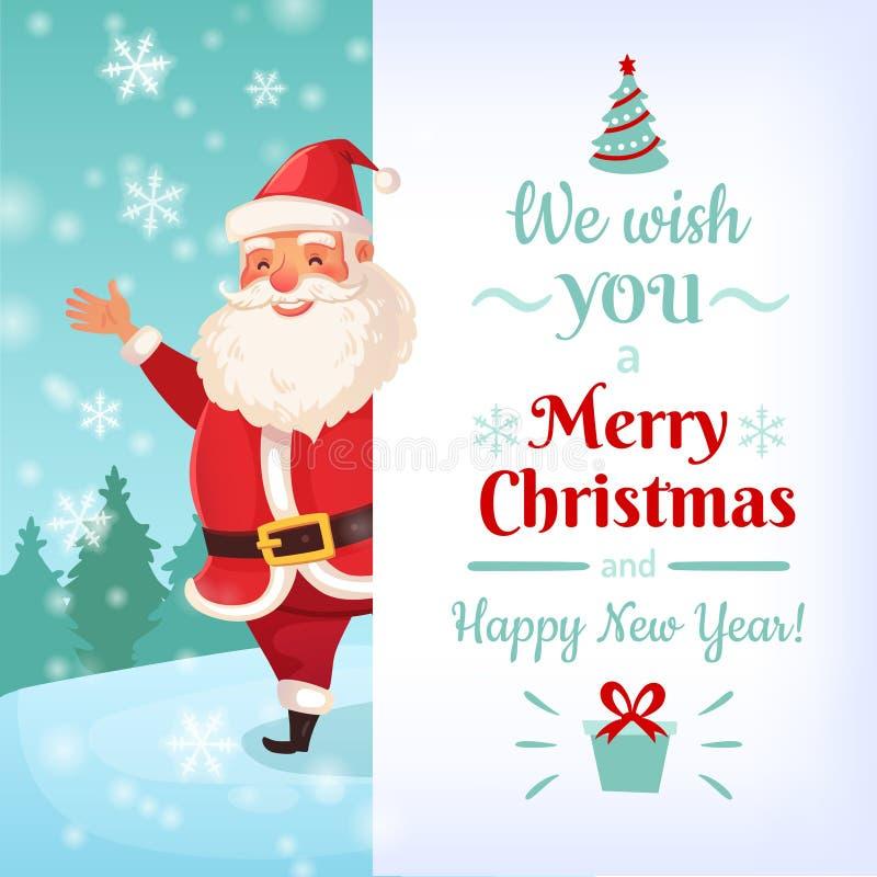 Wesoło kartka bożonarodzeniowa Święty Mikołaj kartka z pozdrowieniami szablony, zima wakacji sztandaru wektoru ilustracja royalty ilustracja