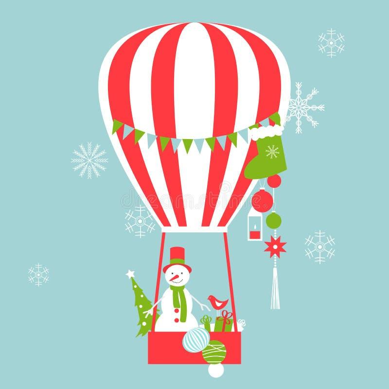 Wesoło kartka bożonarodzeniowa Gorące powietrze balon z bałwanem royalty ilustracja