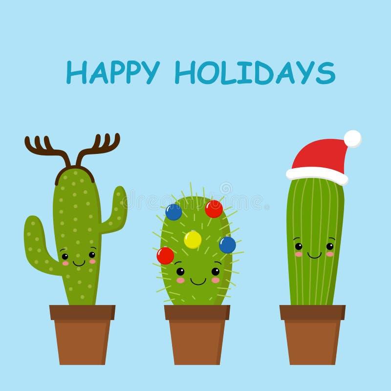 Wesoło kartka bożonarodzeniowa Kaktus w Bożenarodzeniowym kapeluszu karciany śliczny powitanie ilustracja wektor