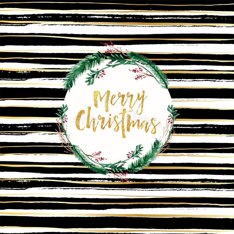 Wesoło kartka bożonarodzeniowa projekta czarny i biały szczotkarski tło i złota literowanie royalty ilustracja