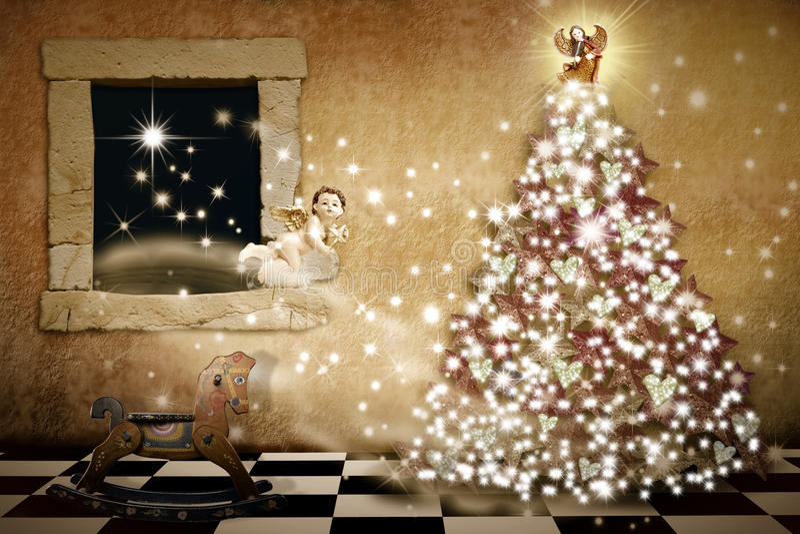 Wesoło kartka bożonarodzeniowa rocznika styl ilustracji