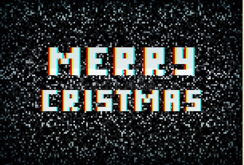 Wesoło kartka bożonarodzeniowa, technologii pojęcie, piksel typografia ilustracji