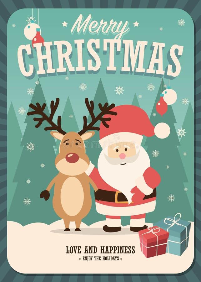 Wesoło kartka bożonarodzeniowa z Święty Mikołaj i pudełkami na zimy tle renifera i prezenta ilustracja wektor