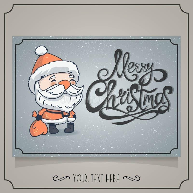 Wesoło kartka bożonarodzeniowa z charakterem Santa ilustracja wektor
