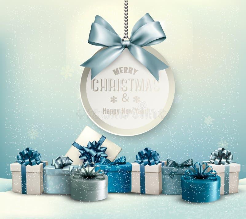 Wesoło kartka bożonarodzeniowa z faborkiem i prezentów pudełkami ilustracji