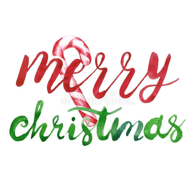 Wesoło kartka bożonarodzeniowa z literowanie tekstem i cukierek trzciny ornamentem na białym tle ilustracji