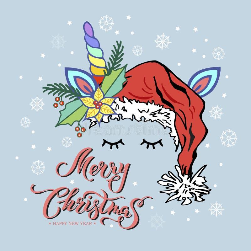 Wesoło kartka bożonarodzeniowa z ręka rysującym literowaniem, jednorożec tiara z tęcza rogiem i boże narodzenia, gramy główna rol ilustracji