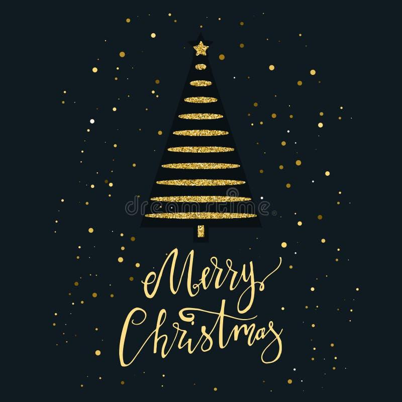 Wesoło kartka bożonarodzeniowa z złocistą błyskotliwości choinką, płatkiem śniegu i Nowożytny literowanie nowego roku karty Używa obrazy royalty free