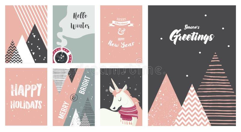 Wesoło kartki bożonarodzeniowa ilustracje i ikony pisze list projekt kolekcję, - żadny 6 royalty ilustracja