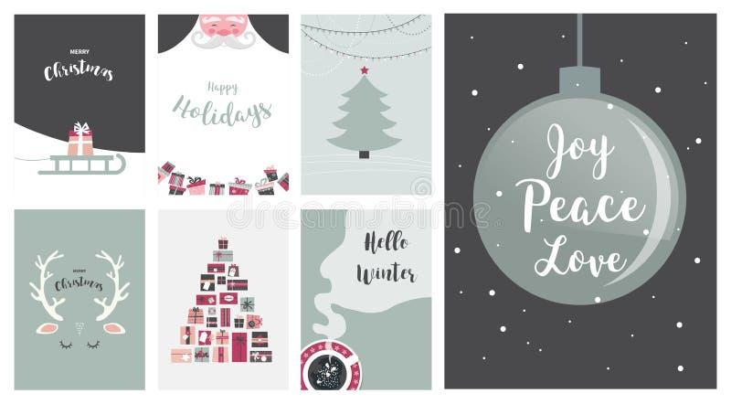 Wesoło kartki bożonarodzeniowa ilustracje i ikony pisze list projekt kolekcję, - żadny 7 ilustracji
