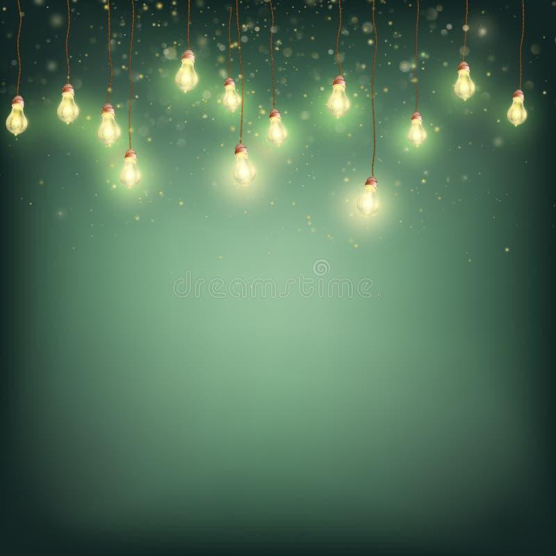 Wesoło kartki bożonarodzeniowa pojęcie - Jarzyć się światło girlandę EPS 10 wektor ilustracja wektor