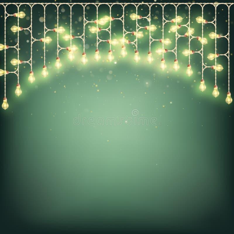 Wesoło kartki bożonarodzeniowa pojęcie - Jarzyć się światło girlandę EPS 10 wektor ilustracji