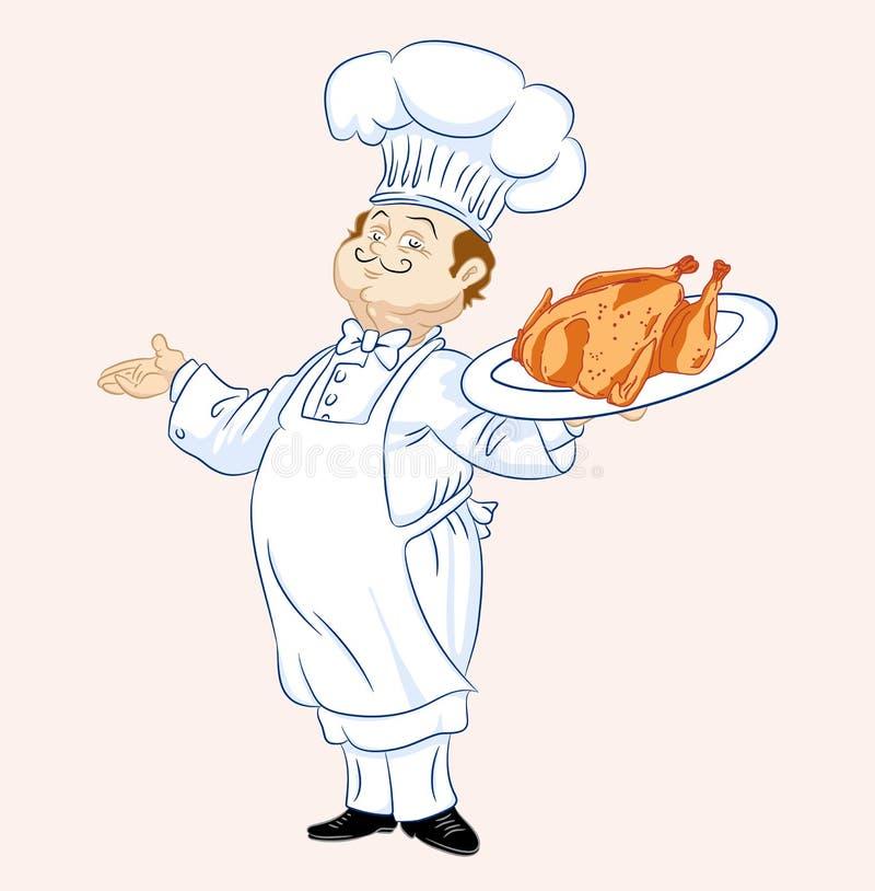 Wesoło kucharz z kurczakiem ilustracja wektor