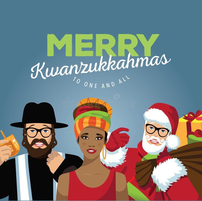 Wesoło Kwanzukkahmas z rabinem, Santa i Afrykańską kobietą, ilustracja wektor